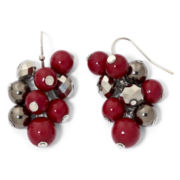 Silver-Tone & Red Bead Cluster Earrings