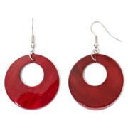 Red Open Shell Disc Earrings