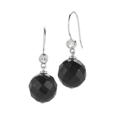 jcpenney.com | Onyx & White Topaz Faceted Drop Earrings