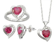 Lab-Created Ruby & White Sapphire 3-pc. Heart Jewelry Set