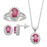 Lab-Created Ruby & White Sapphire 3-pc. Oval Jewelry Set