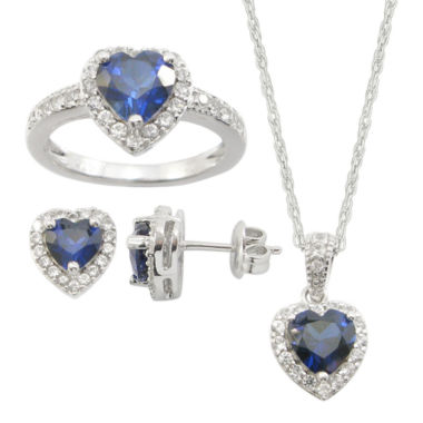 jcpenney.com | Lab-Created Heart-Shaped Blue & White Sapphire 3-pc. Set