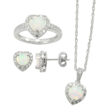 jcpenney.com | Lab-Created Opal & White Sapphire 3-pc. Heart Jewelry Set