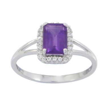 jcpenney.com | Genuine Amethyst and Lab-Created White Sapphire 10K White Gold Ring