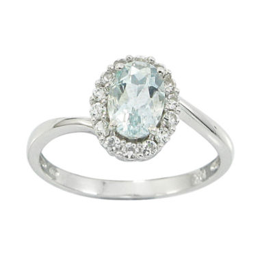 jcpenney.com | 10K White Gold Genuine Aquamarine & Lab-Created White Sapphire Ring