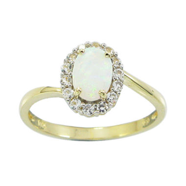 jcpenney.com | 10K Yellow Gold Lab-Created Opal & White Sapphire Ring