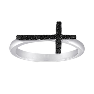 jcpenney.com | 1/10 CT. T.W. Color-Enhanced Black Diamond Mini Sideways Cross Ring