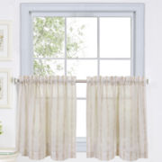 Linen Stripe Rod-Pocket Sheer Window Tiers