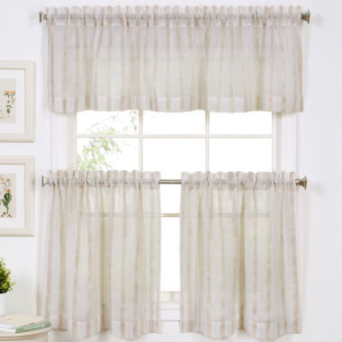 jcpenney.com | Linen Stripe Rod-Pocket Kitchen Curtains
