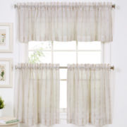 Linen Stripe Rod-Pocket Kitchen Curtains
