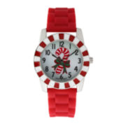 Womens Christmas Candy Cane Red Silicone Strap Watch