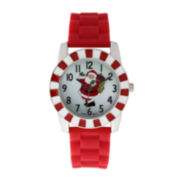 Womens Christmas Santa Claus Red Silicone Strap Watch