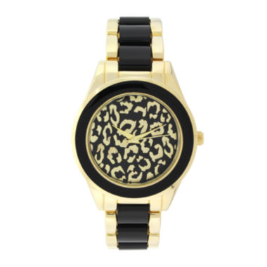 jcpenney.com | Geneva Womens Cheetah-Look Dial Gold-Tone Bracelet Watch