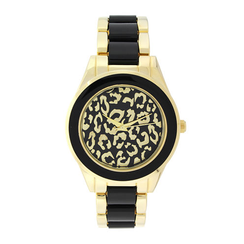 Geneva Womens Cheetah-Look Dial Gold-Tone Bracelet Watch