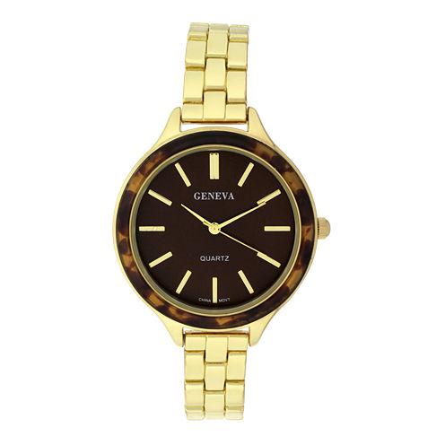 Geneva Womens Tortoise-Look Bezel Gold-Tone Bracelet Watch