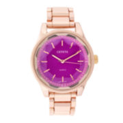 Geneva Womens Pink Dial Rose-Tone Bracelet Watch