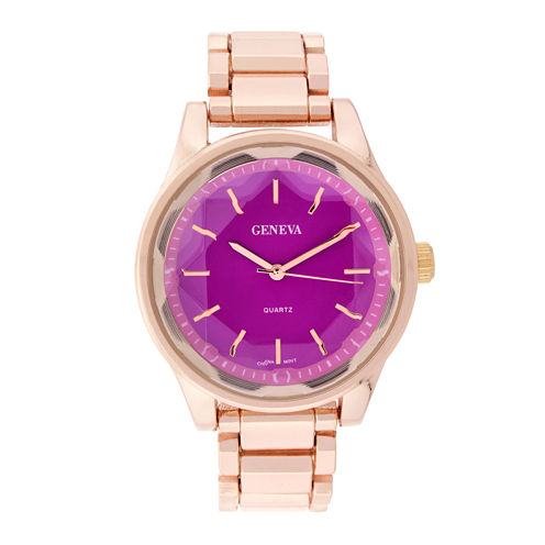 Geneva Womens Pink Dial Rose-Tone Bracelet Watch