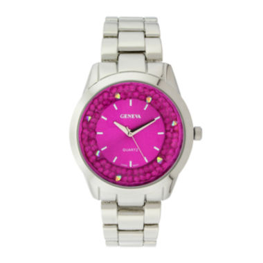 jcpenney.com | Geneva Womens Crystal-Accent Pink Dial Bracelet Watch