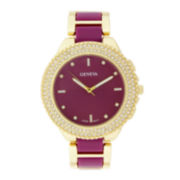 Geneva Womens Crystal-Accent Pink Dial Bracelet Watch