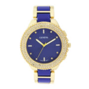 Geneva Womens Crystal-Accent Blue Dial Bracelet Watch