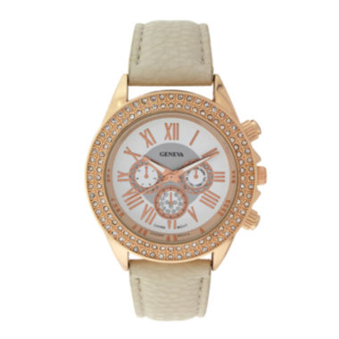 jcpenney.com | Geneva Womens Crystal-Accent White Dial Watch