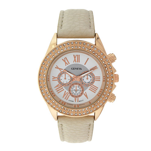 Geneva Womens Crystal-Accent White Dial Watch