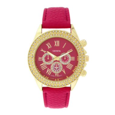 jcpenney.com | Geneva Womens Crystal-Accent Pink Dial Watch