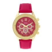 Geneva Womens Crystal-Accent Pink Dial Watch