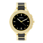 Geneva Womens Crystal-Accent Black Dial Bracelet Watch