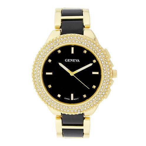 Geneva Womens Crystal-Accent Black Dial Bracelet Watch