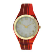 Womens Red Plaid Silicone Strap Watch