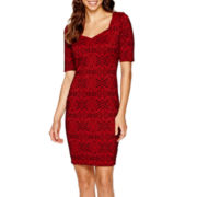 Bisou Bisou® Short-Sleeve Jacquard Bodycon Dress