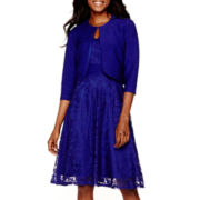 Danny & Nicole® 3/4-Sleeve Lace Jacket Dress