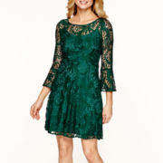 Studio 1® 3/4-Sleeve Lace Fit-and-Flare Dress