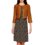 R&K Originals® 3/4-Sleeve Faux-Suede Jacket Dress - Petite