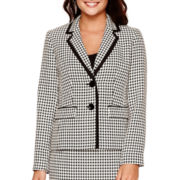 Black Label by Evan-Picone 2-Button Houndstooth Jacket