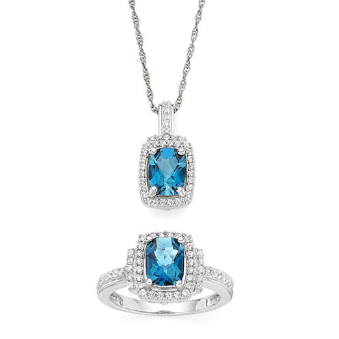 Genuine Blue Topaz and Lab-Created White Sapphire Boxed Pendant Necklace and Ring Set