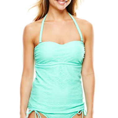 jcpenney.com | Aqua Couture Crochet Lace Molded Bandeaukini Swim Top