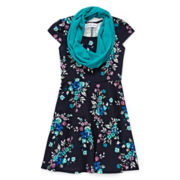 Textured Skater Dress and Loop Scarf - Girls 7-16