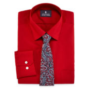 Stafford® Easy-Care Dress Shirt & Tie Set - Big & Tall