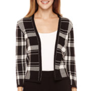Liz Claiborne® 3/4-Sleeve Plaid Sweater Jacket - Petite