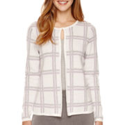 Liz Claiborne® Long-Sleeve Windowpane Sweater Jacket - Petite