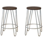 Quinn™ Wood-Top Set of 2 Backless Barstools