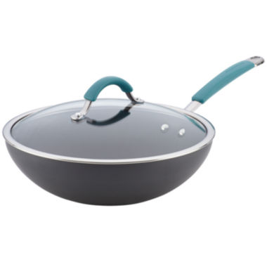 "jcpenney.com | Rachael Ray® Cucina 11"" Hard-Anodized Nonstick Stir-Fry Pan with Lid"