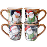 Certified International Santa's Workshop Set of 4 Mugs