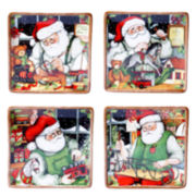 Certified International Santa's Workshop Set of 4 Dessert Plates