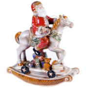 Certified International Santa's Workshop Rocking Horse Figurine Tabletop Centerpiece