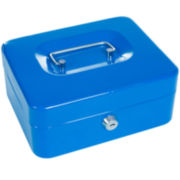 "Stalwart™ 8"" Key Lock Blue Cash Box with Coin Tray"