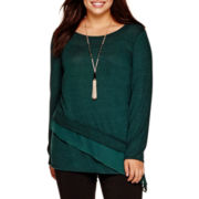 Alyx® Long-Sleeve Hatchi Asymmetrical Top with Necklace - Plus