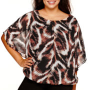 Alyx® Animal Print Bubble-Hem Top with Flutter Sleeves - Plus